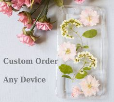 Pink Pressed Flowers in Resin on a Clear Phone Case    Made to Order for iPhone 6 plus, 6, 5s, 5, 5c, Samsung Galaxy S5, S4, and any other mobile