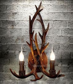 2016 Art Deco Retro Resin Antler Wall L& American Country Wall Light Deer Horn candle L&shade Wall Sconce 110 240V-in Wall L&s from Lights u0026 Lighting ... & Faux Antler Twin Deer Horns Resin Antler Two Candle Light Wall ...