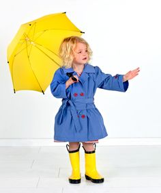 Rainy Day Trends:  Bright colors, blue and yellow raincoat and umbrella, from Oliver + S.