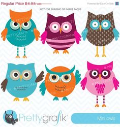 80 OFF SALE owl clipart commercial use by Prettygrafikdesign