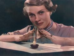 Makeup artist Ern Westmore offers some vintage nail polish tips. How to paint nails, do a quick nail repair or apply false nails Hollywood Makeup, Hollywood Actresses, London School Of Fashion, 1960s Makeup, Fiberglass Nails, Vintage Nails, Nail Repair, Manicure At Home, Disney Nails