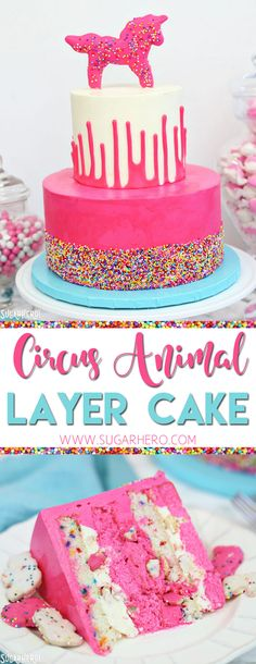 Circus Animal Layer Cake - a big, bright pink cake with funfetti cake layers, chopped up circus animal cookies inside, and a cool upside-down ganache drip decoration! | From SugarHero.com #sugarhero #circusanimalcookies #layercake #pinkcake #partycake