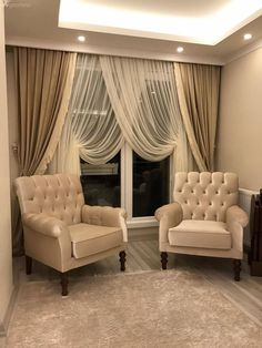 Berjer, Fund curtain, cream, double-breasted curtain, lounge - Home And Garden Elegant Curtains, Modern Curtains, Curtain Styles, Curtain Designs, Home Curtains, French Home Decor, Living Room Decor, Lounge, Interior Design