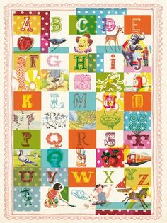 Vintage Alphabet Art Print A4 for Baby T's Room