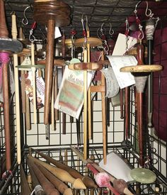 Flash Your Stash: Spindles! How do you store all of your spindles and tools? Jeannine Glaves found a system that allows her to keep all of her spindles and tools in one handy place. Putting Me Together, Care Pack, Drop Spindle, Ornament Hooks, Bottle Box, Hand Spinning, Storage Spaces, Tools, Store