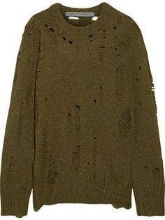 Shop Now - >  https://api.shopstyle.com/action/apiVisitRetailer?id=660211168&pid=uid6996-25233114-59 Raquel Allegra - Distressed Cashmere Sweater - Army green  ...