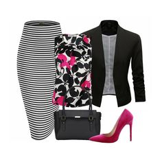 A beautiful Kasper floral print blouse with pink highlights goes great with a stripe Hybrid & Company stretchy pencil skirt. Throw on a black blazer Jacket to tone down that popping pink of a Liliana velvet pointy toe stiletto pump and grab a black Hynes Victory commuter working handbag for the