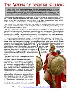 Fantastic CCSS primary source reading on The Making of Spartan Soldiers! This one page excerpt from Plutarch describes how the ancient Spartans would train their army to be the most disciplined in the world. Includes a set of review questions to gauge student understanding. Great for a unit on Ancient Greece!