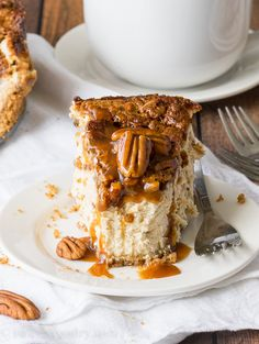 The best of both worlds! This Brown Sugar Pecan Pie Cheesecake has a rich and creamy brown sugar cheesecake base with a layer of pecan pie right on top. The best part is that this dessert recipe is actually really easy!