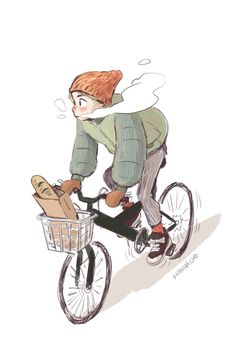 "hannacho-art: "" A boy with a bike """
