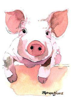 (pink bedroom) ACEO Original - My Little Fella, in watercolor. $15.00, via Etsy.