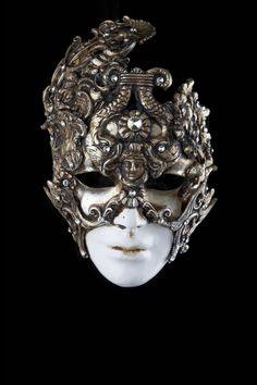 Nausicaa Venetian mask with rhinestones in papier mache, masquerade masks with jewels, diamonds, ball masks jewelry.