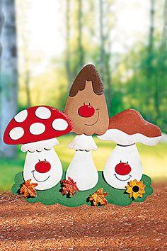 """Fensterbild """"Pilz-Trio"""" für den Herbst"""