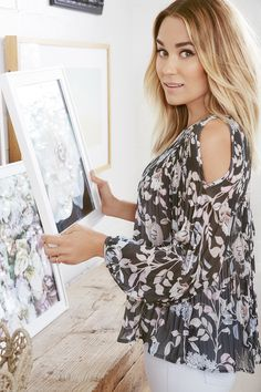 Lauren Conrad wearing a pleated cold shoulder top from the LC Lauren Conrad Collection at Kohl's
