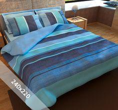 Sofiben dekbedovertrek 'Blue Sea'. Een lits-jumeaux (240x220 cm) dekbedovertrek van 100% percal katoen, voorzien van een rits. Het dekbedovertrek is opgebouwd uit verschillende kleuren blauw en doet denken aan een prachtige blauwe zee.