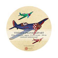 4 Colours, Black-Red-Green-Blue, Digital Illustration Clipart Vintage Plane, INSTANT DOWNLOAD