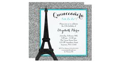 A glamorous Paris themed Quinceanera invitation. Show in teal blue, silver and black. Featuring an Eiffel tower illustration with a faux silver glitter background. Designs are flat printed graphics - NOT ACTUAL GLITTER. Graphics by JW Illustrations at MyGrafico