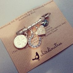 Bridal Charm Pin by a Bird in a Tree - Something Old, Something New, Something Borrowed, Something Blue on Etsy, £14.99