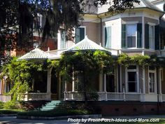 Wow - look at the unique #porch roof design on this wraparound #FrontPorch from #Savannah! Front-Porch-Ideas-and-More.com