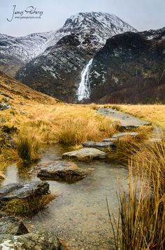 An Steall Bàn, Steall Waterfall or Steall Falls. Scotland: