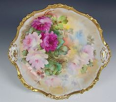 BEAUTIFUL-LIMOGES-HAND-PAINTED-ROSES-CENTER-PIECE-BOWL