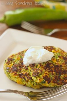 Zucchini Fritters with Corn and Hatch Chiles|Craving Something Healthy Great Meatless Monday or any night vegetarian dinner. Freezes well for later!
