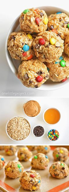 No Bake Monster Cookie Energy Balls.These no-bake monster cookie energy bites are soooo DELICIOUS! This is such a great snack idea that actually keeps you full! They're a healthy option for a portion controlled a# Bake Good Healthy Recipes, Healthy Treats, Gourmet Recipes, Snack Recipes, Dessert Recipes, Simple Healthy Snacks, Healthy Snacka, Desserts, Healthy Snack Foods