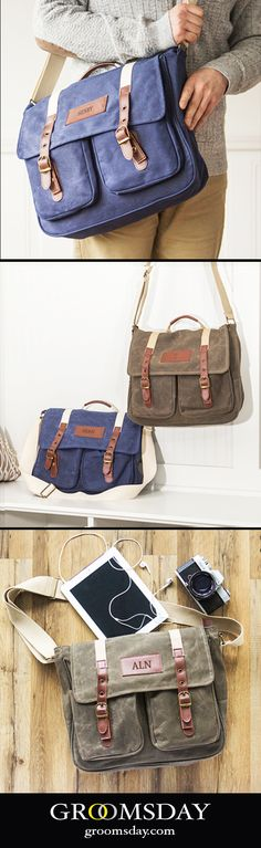 Personalized Men s Waxed Canvas and Leather Messenger Bag db0eec84d10a7