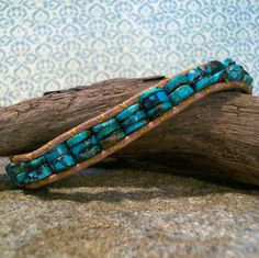 I like this - gift idea?!  Mens 1x Beaded Leather Wrap Southwestern Turquoise by jUNIQUE4U, $38.00.