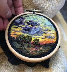 Mesmerizing colorful landscape embroidery hoop art by Vera Shimunia - Page 2 of 4 Embroidery Hoop Art, Hand Embroidery Patterns, Learn Embroidery, Embroidery Needles, Cross Stitch Embroidery, Thread Painting, Thread Art, Beautiful Scenery Drawing, Beautiful Landscapes