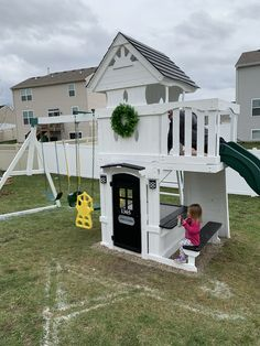 Swingset makeover Painted an old cedar swing set to give it a cute farmhouse modern look! Cedar Swing Sets, Outdoor Swing Sets, Backyard Swing Sets, Backyard Playset, Backyard For Kids, Outdoor Play, Outdoor Living, Modern Playground, Playground Set