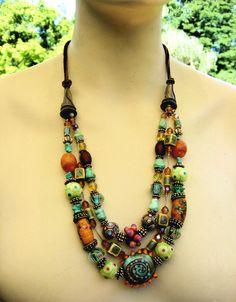 https://flic.kr/p/2VwMjM | bohemian necklace | lampwork glass, liquid silver & leather