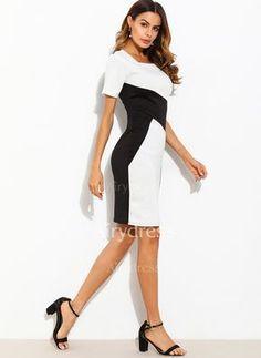 Color Block Short Sleeve Bodycon Dress (1128217) @