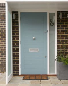 51 Trendy Ideas For Duck Egg Blue Painted Furniture Front Doors Modern Front Door, Entry Door With Sidelights, House Front, 21st Century Homes, Contemporary Front Doors, Door Design Modern, Blue Interior Doors, Front Door, Exterior Doors