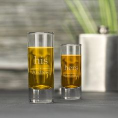 Engraved Shot Glass Set - His and Hers