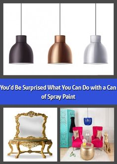 We hope you like the products we recommend. Just so you are aware, Freshome may collect a share of sales from the links on this page. Spray paint is a quick, Spray Paint Cans, Metallic Spray Paint, Spray Painting, Painting Tips, Painted Wooden Chairs, Vintage Phones, Old Picture Frames, Paint Primer, Brass Chandelier