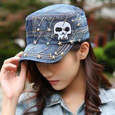 Skull embroidered baseball cap for women blue denim flat hat