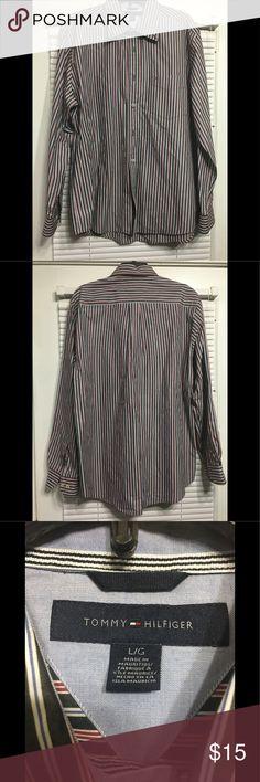 Tommy Hilfiger Men Shirt Men's long sleeve stripped button down shirt.100% cotton. Natural black with red/ blue stripes. Tommy Hilfiger Shirts Casual Button Down Shirts