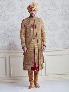 Jute Beige Wedding Wear Designer Sherwani , indian grooms