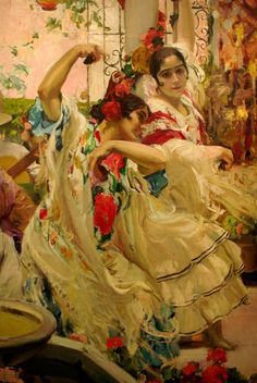 Estudio para la Cruz de Mayo (detail) - Joaquín Sorolla y Bastida. Spanish Dance, Spanish Woman, Spanish Art, Latin Artists, Famous Artists, Art Espagnole, Art Pictures, Photos, Flamenco Dancers