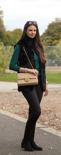 Vintage Chanel Lambskin Double Flap in Beige available at www.lovethatbag.ca