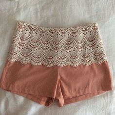 Urban Outfitters Lace Peach shorts Very comfy and easy to style! No signs of being worn, only been worn twice! From Urban Outfitters! Urban Outfitters Shorts