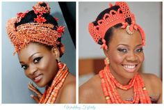 Gorgeous Nigerian Edo brides with intricate hair updos wrapped in coral beads. Post from Wedding Feferity #nigerianweddings #nigerianbride #eboweddings #edobride Follow @ChiefWedsLolo.com - Nigerian Wedding Planning Blog (Traditional and Church/Mosque) for more traditional bridal Nigerian hairstyles!