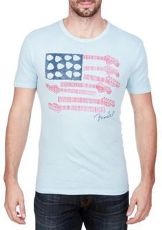Lucky Brand Spring Blue Short Sleeve Fender Flag Graphic Tee