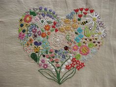 embroidery wall art / hoop art / handmade cross stitch / needlework / home decor / flower plant / botanical print / illustrations / herbarium Embroidery Hearts, Embroidery Sampler, Hand Embroidery Patterns, Vintage Embroidery, Embroidery Applique, Cross Stitch Embroidery, Embroidery Designs, Crazy Quilting, Art Du Fil
