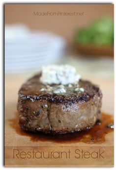 Restaurant Steak - 15 minutes for a steak that rivals any restaurant. Hubby said it was better than any steak he had ever had on the grill! Sounds yummy and easy! Beef Dishes, Food Dishes, Main Dishes, Meat Recipes, Wine Recipes, Cooking Recipes, I Love Food, Good Food, Yummy Food