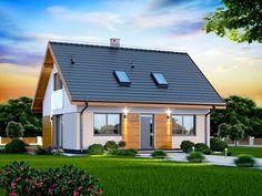 Projekt domu z poddaszem Armanda XS BIS o pow. House Roof, Facade House, My House, Solar Panel Cost, Solar Panels For Home, Cedar Cladding, Modern Bungalow, Modular Homes, Tiny House Design