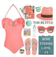 """Ruffled Summer!!!!"" by karineminzonwilson ❤ liked on Polyvore featuring Chronicle Books, Eos, Urban Decay, Prymal, Urbanears, Havaianas, Barneys New York, CÉLINE, Polaroid and Acne Studios"