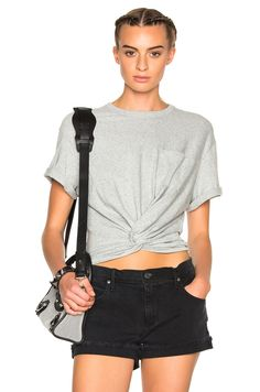 Image 1 of T by Alexander Wang Twist Front Short Sleeve Tee in Heather Grey