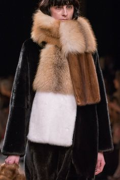Mink fur coat and multifur scarf